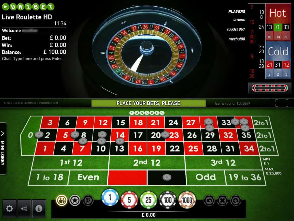 Unibet Live casino Auto Roulette