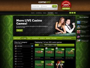 comeon live Casino Home page