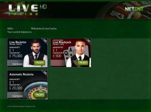 Victor Royale Live casino lobby