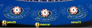 Close up of William Hill Live Blackjack Bet Behind