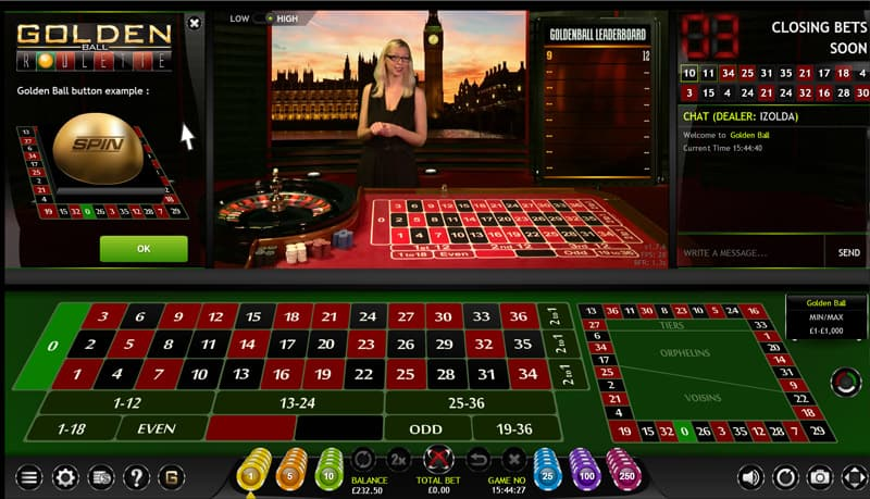 extreme live gaming live roulette golden ball