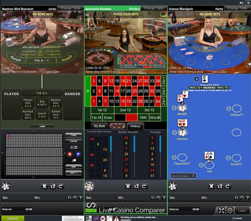 betfair live casino table limits
