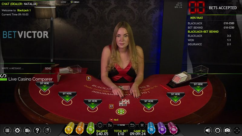 betvictor extreme live casino blackjack
