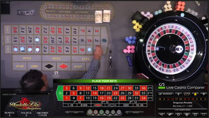 Dragonara Roulette real players placing bets
