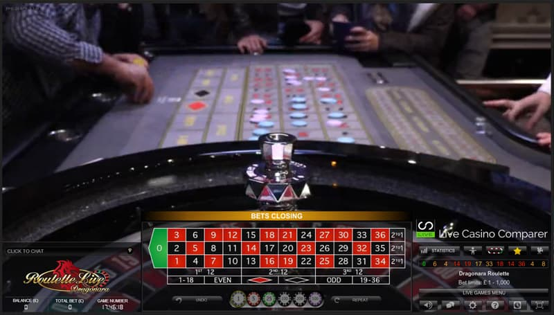 Dragonara roulette player view