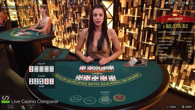 best live caribbean stud poker