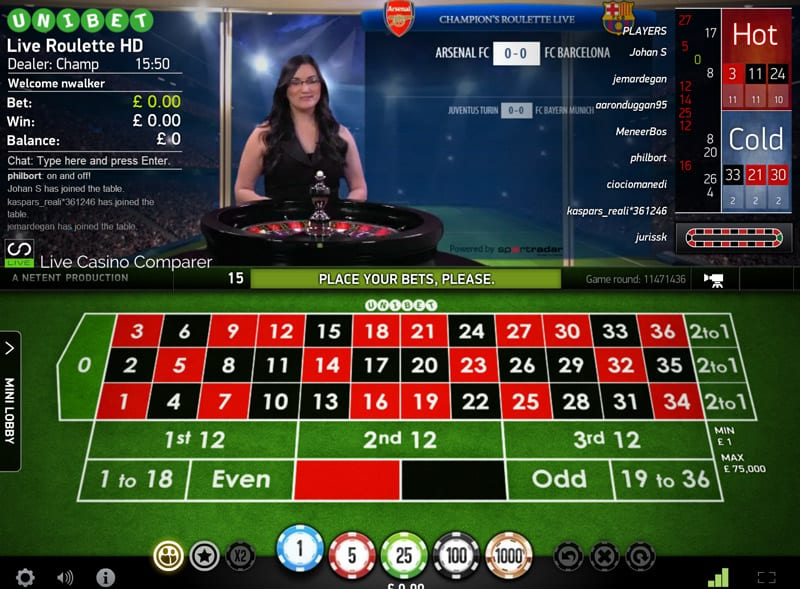 Champions league roulette from netent livecasinocomparer for Table tv a roulettes