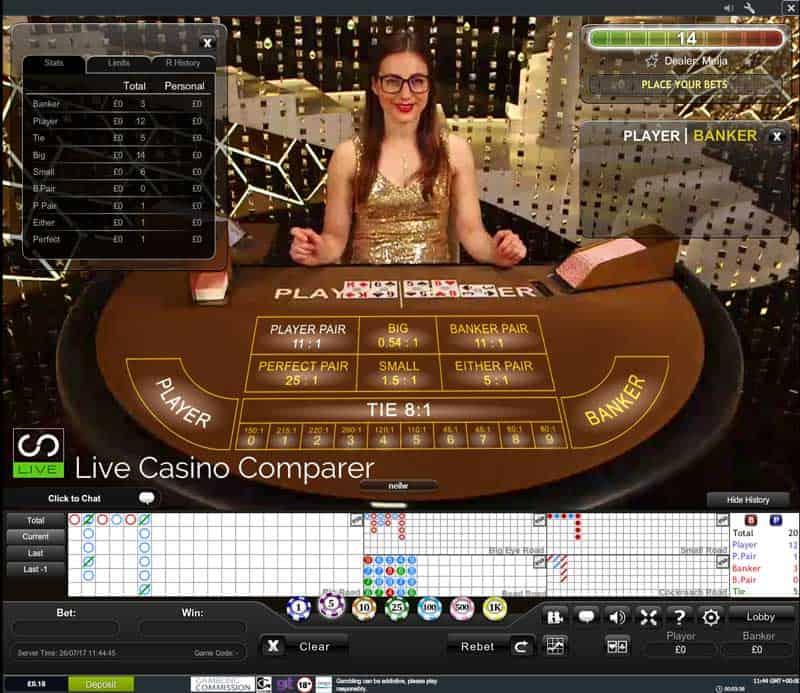 Playtech Single Player Live Baccarat