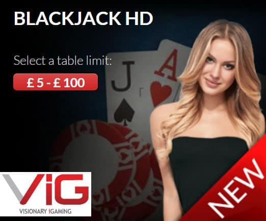 Blackjack HD Visionary igaming