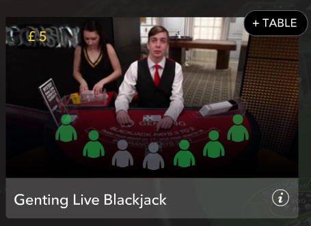 Evolution live lobby Blackjack