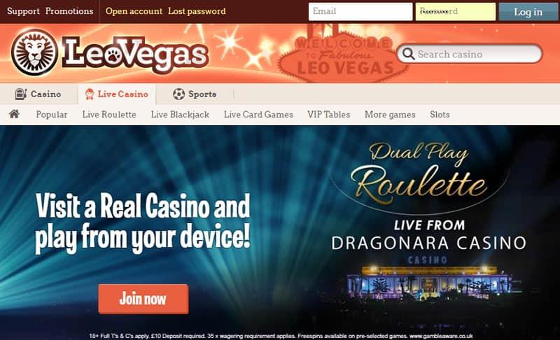 leo vegas Live Casino tab