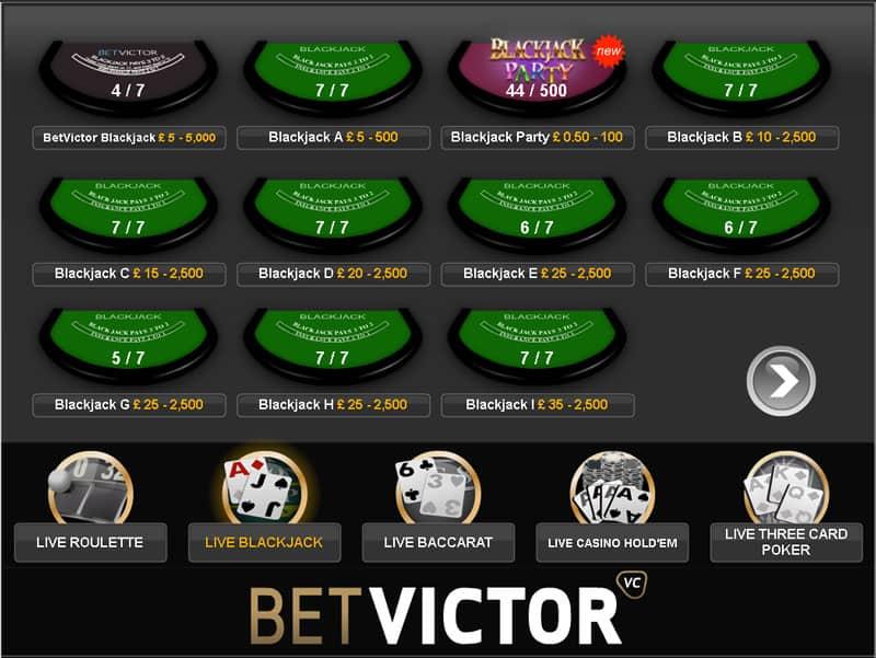betvictor Blackjack Lobby