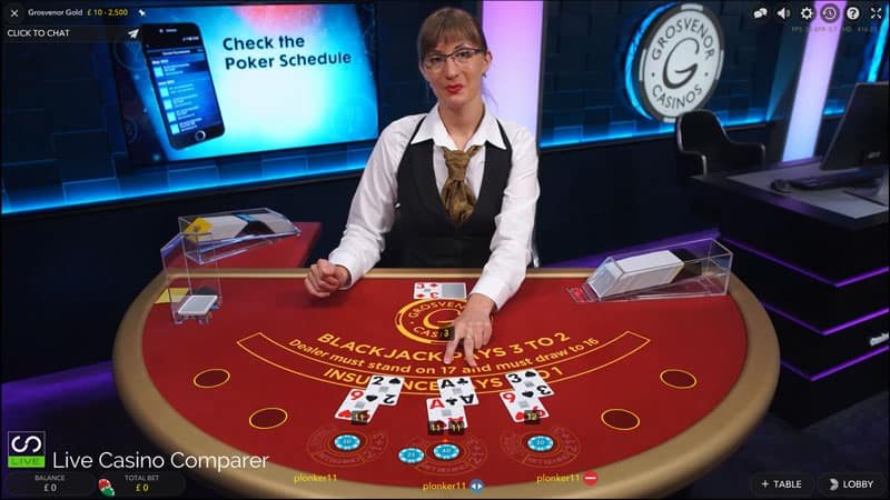 Grosvenor Live Blackjack Gold