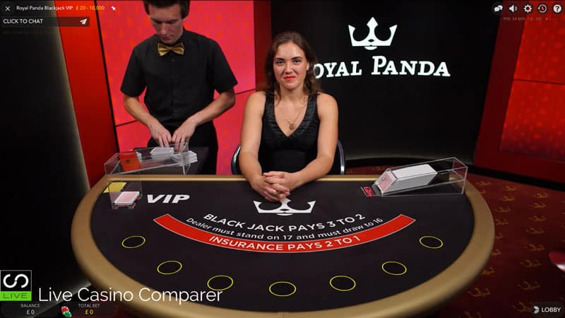 Royal Panda Dedicated live casino VIP Blackjack