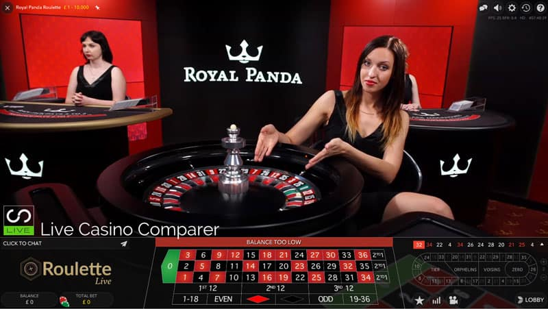 Royal Panda Dedicated live casino Roulette
