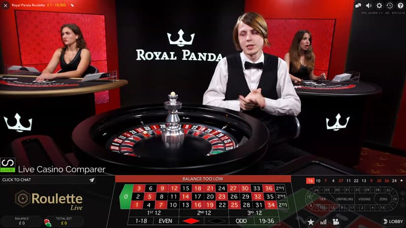 Royal Panda dedicated live casino roulette male dealer