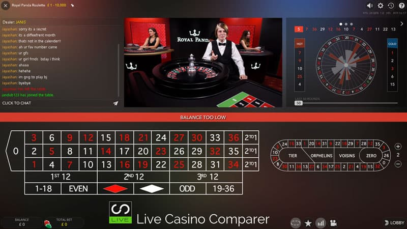 Royal Panda dedicated live casino roulette classic view