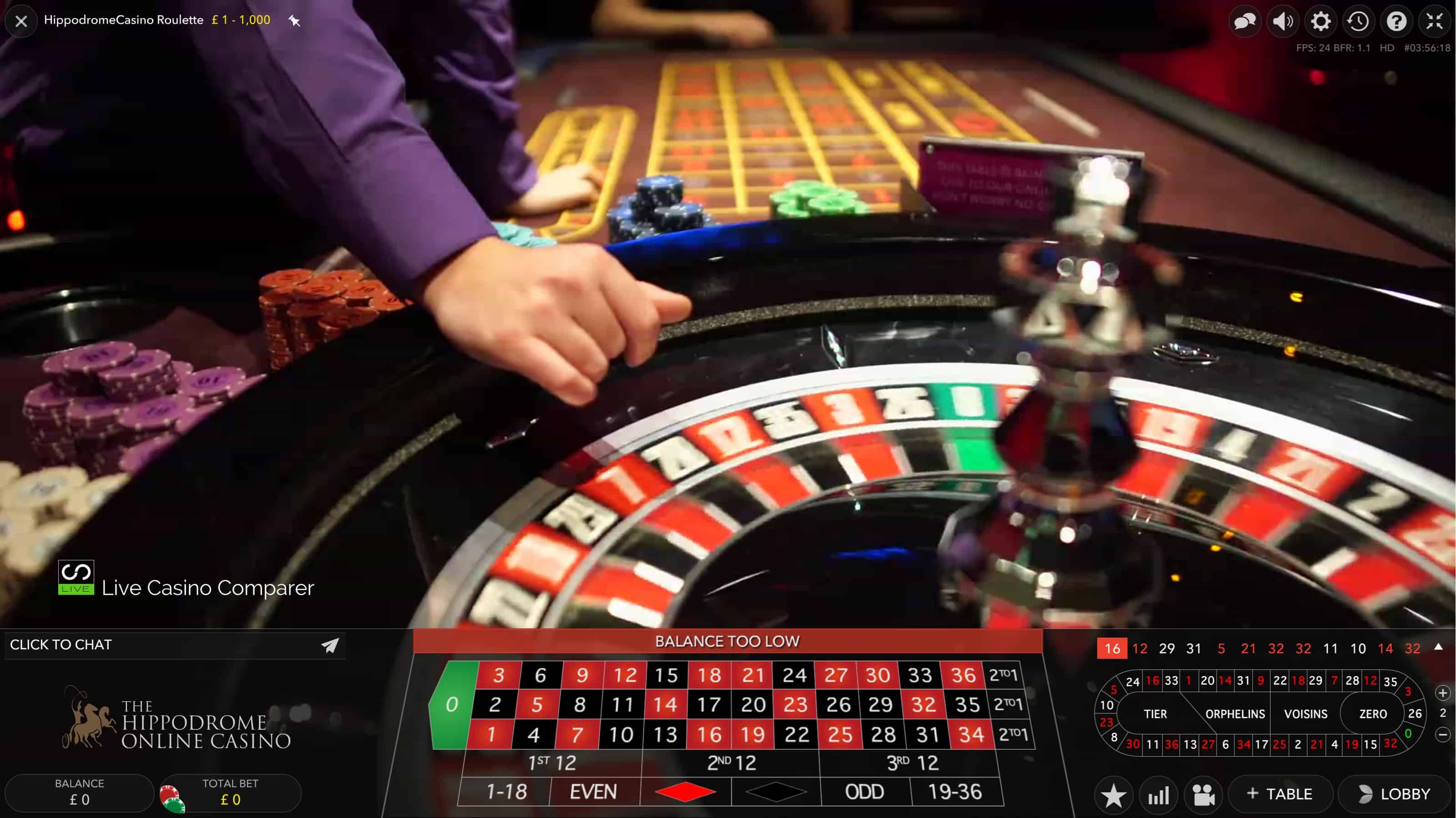 Hippodrome Land Based Casinos that stream Live Roulette