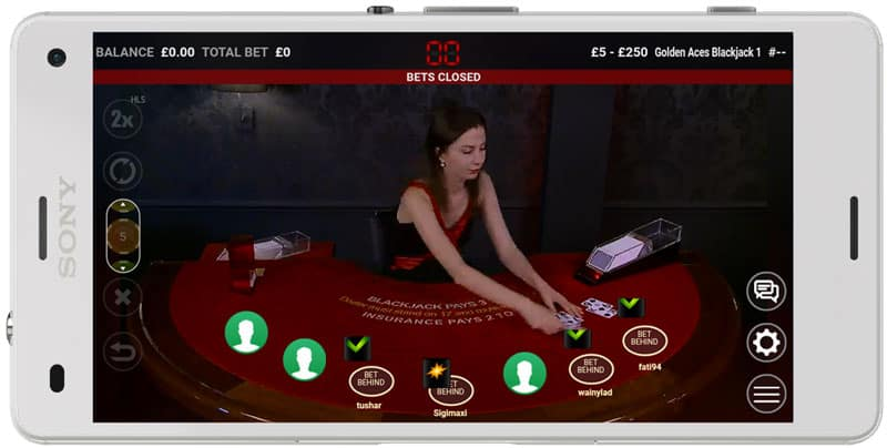 extreme live blackjack on a mobile phone