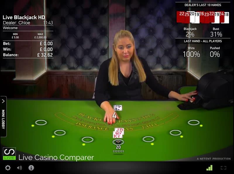 netent live blackjack rules