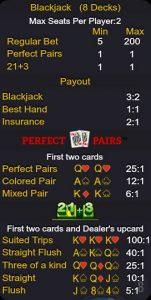 Ezugi live blackjack payout chart