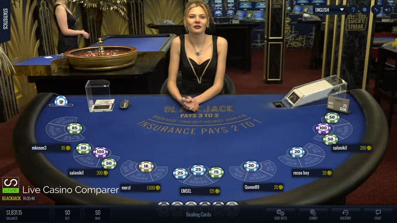 Luckystreak live blackjack table