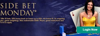 side bet Monday at William hill