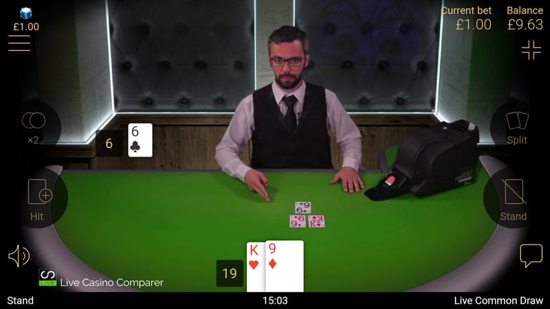 netent mobile live blackjack - landscape view