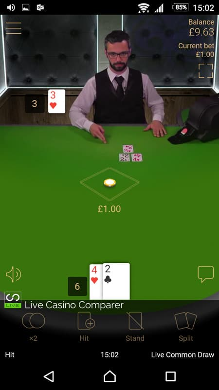 netent mobile live blackjack - portrait view