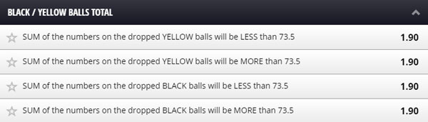 betgames lucky 7 black/yellow balls total