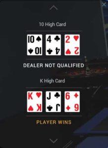 Playtech live 3 card brag hand history