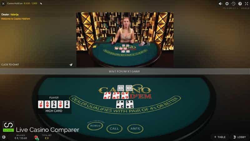 Evolution Live casino Holdem Classic View