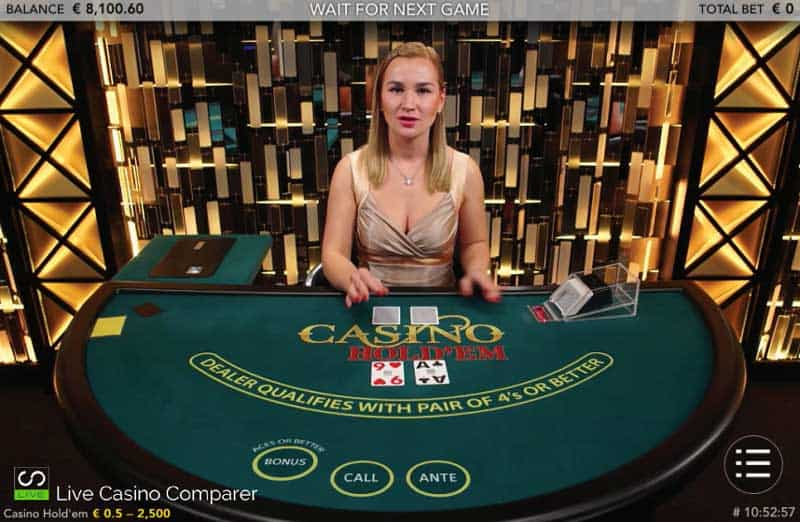 Live Casino Holdem on Tablet