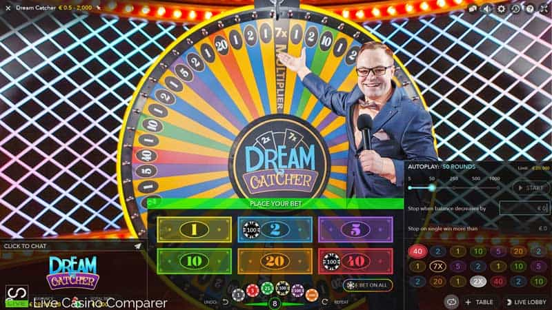 dreamcatcher auto spins uk interface