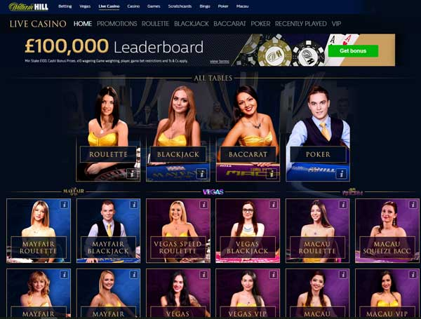 Live Casino £100k leaderboard Games