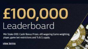 Live Casino £100k leaderboard