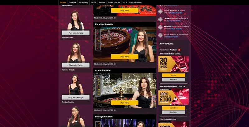 betfair live roulette bonus games