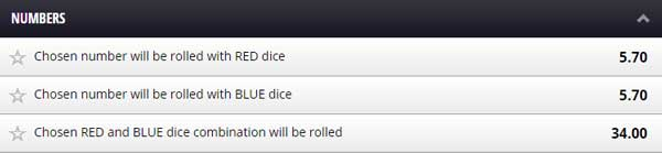 Betgames Dice Duel Numbers Bet