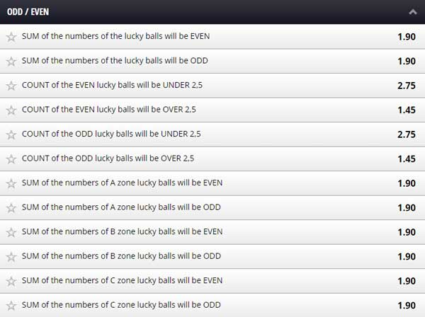 Betgames Lucky 6 Odd Even Bet