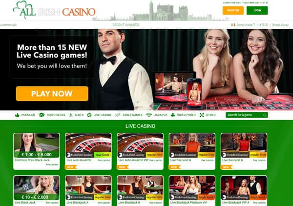 Free play netent live casino games at All Irish Casino