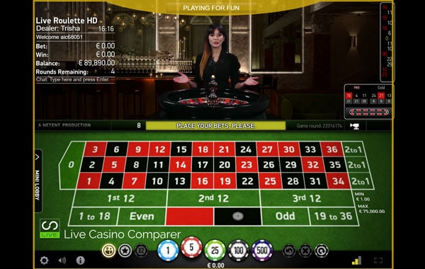 Free play live roulette at All Irish Live Casino