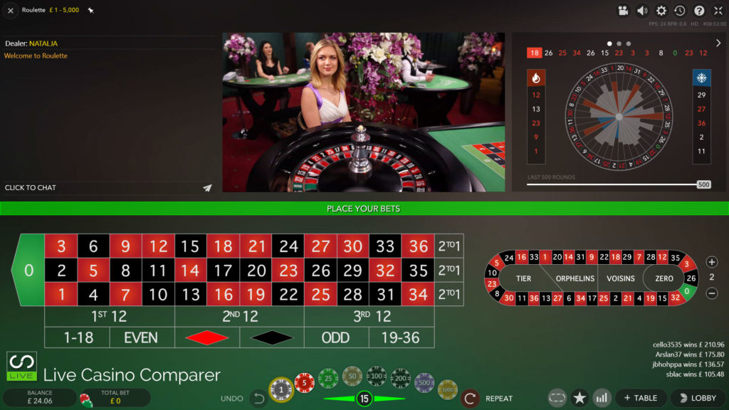 evolution roulette with live dealer in classic mode