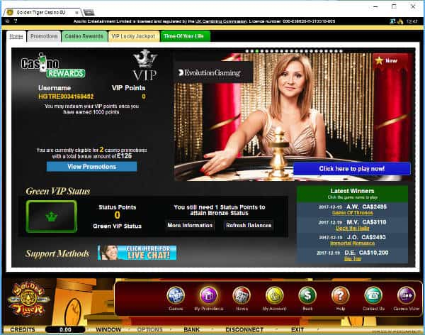 golden tiger live casino download client