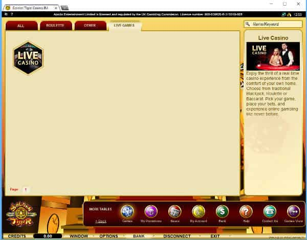 golden tiger live casino tab
