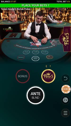 casino texas holdem bonus poker