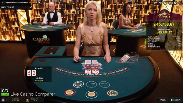 Evolution Live Texas Holdem Bonus poker 2nd Round