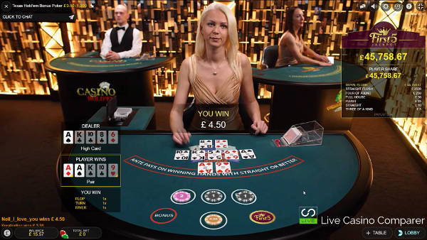 Evolution Live Texas Holdem Bonus Poker with Dealer