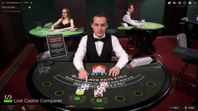 £1 Live Blackjack at Codeta