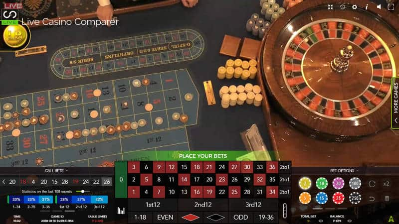 Platinum Casino Live Roulette Table
