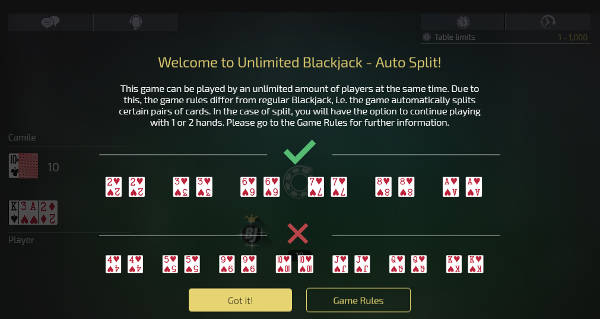 unlimited Blackjack with Auto splits rules